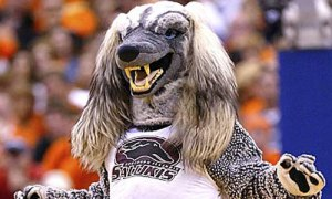 Now salukis are actually fairly graceful dogs, but this mascot makes these pooches seem the essence of nightmares who might maul their opponents to death.