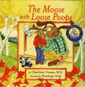 Seriously, this idea pertaining to using woodland creatures for bathroom activities has to stop. Also, why does that kid moose have antlers already? I mean moose calves don't have them yet.