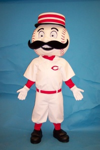 Mr. Redlegs is basically a cross between Mr. Met and the Monopoly Man. Yet, from the look in his crazed eyes, you wonder whether he's going to murder any players from the opposing team shall any of them score a home run.