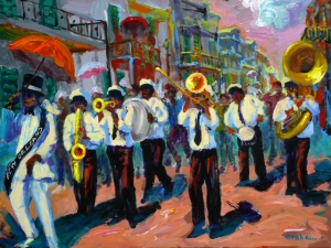 "In New Orleans, Louisiana, jazz is a music tradition that's played on all sorts of occasions. This painting depicts a New Orleans jazz funeral in which the traditional somber music is replaced with loud, upbeat, raucous music and dancing celebrating the deceased's life.  ""When the Saints Go Marching In"" is usually a standard tune at these."