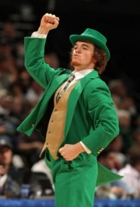 "Now the ""Fighting Irish"" is perfectly okay for Notre Dame. A fighting Leprechaun logo is fine as well. Yet, having a mascot be a guy dressed like one sort of takes the negative Irish stereotyping too far, especially if he looks like he's fresh off from Riverdance."