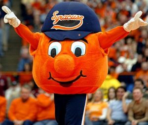 Now Syracuse is known for having severe winters and experiencing 120 inches of snow. This isn't a good climate for citrus fruits. Also, a giant dancing orange with arms and legs wearing a cap makes a rather dopey mascot indeed.