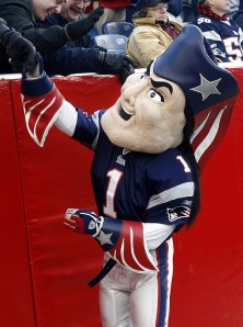 Now Pat the Patriot shows that just because he looks good for the logo, doesn't mean that he should have a costumed counterpart. I mean he has a sinister look in his eye as if he's about to ask for your soul.