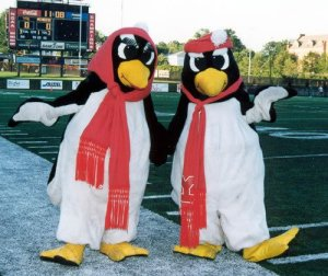 Now I know that the Pittsburgh Penguins have Iceberg as their mascot, but at least Iceberg doesn't appear to have a side arm that entails greeting kids wanting to see Santa at the mall. These two seem to. Also, they don't seem to be up to any good by the looks of them.