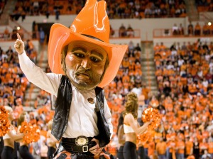 Of course, Pistol Pete only started to appear as Oklahoma State's mascot after being fired as an animatronic showman at Chuck E. Cheese's. Of course, Chuck E. Cheese couldn't stand Pistol Pete's drinking habits, anger issues, and tendency to show up to work with a firearm.