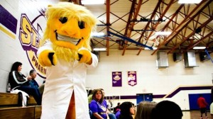 For one, why does a pharmacy college have its own mascot? Second, this school's mascot seems to be of a guy who's been spending way to much time in the laboratory. I mean whatever is turning his skin yellow can't be good for him.