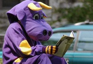 Okay, apparently Williams College's athletic director was high on some strong acid and thought a purple cow mascot was a good idea. I mean this lavender bovine Dr. Seussian nightmare here. Seriously, why?