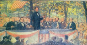 "The Lincoln-Douglas Debates of 1858 US Senate Race marked a high point of Abraham Lincoln's career in Illinois drawing large crowds and intense news coverage. The main issue at hand was slavery and it is here in which Lincoln said, ""A house divided against itself cannot stand."" Still, despite Lincoln's outstanding performance, these debates did nothing to increase his chances of being elected to the US Senate, since senators were elected by the state legislature at the time."