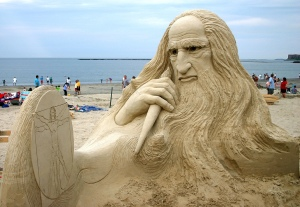 Of course, the reason we could tell it's Da Vinci and not an old man rising from the sand has more to do with the Virtruvian Man's inclusion.