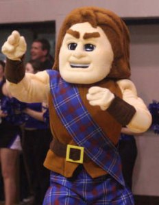 """For some reason I can't help looking at this guy and imagine what Mel Gibson would think of think of this. I mean he's basically a college mascot equivalent to William Wallace from Braveheart minus the blue paint on his face. Still, can't help imagining Scotty say, """"They may take our ball and run with it to our side. They may deny us a chance for a championship but they'll never take our FREEEDOOOM!"""""""