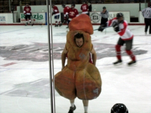 Now if there was a college mascot you wouldn't want to pose in a picture with your kids or parents, then Scrotie would be it.  I mean college sporting events are supposed to be family friendly activities here. A guy dressed as male genitalia is not. Now I know this is an inappropriate image but I'm posting it anyway since you can't make something like this up.