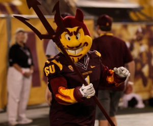 I'm sure the heat in Arizona can be a bit menacing. Yet, while Sparky has the menacing part down, he just seems a little creepy in photo ops, except on Halloween.