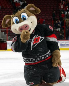 You'd think a team like the Carolina Hurricanes would have a mascot that pertained to, well, hurricanes, especially with the name Stormy. Apparently they decided to go with a pig named Stormy. Of course, North Carolina has a lot of hogs and some of them may fall victim to hurricanes, but why? This doesn't make any fucking sense! Also, this mascot seems more appropriate for children's cartoon for God's sake.