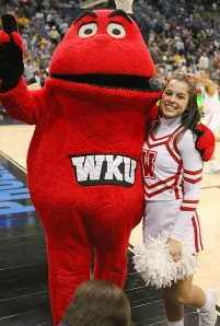 """What the hell is this? And exactly how does Grimace's long lost half-brother """"represent the spirit of WKU?"""" Or is he a lovechild of Grimace and the Kool Aid Man? I can't decide."""