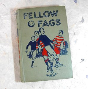 "Seriously, you know how inappropriate the title is by today's standards. Nowadays ""fag"" is basically short for a pejorative slur directed at gay men. Yet, these guys playing soccer in the title don't seem to have a problem calling each other ""fellow fags"" for some reason."