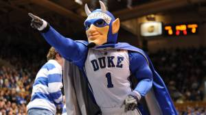 Now according to Duke, the Blue Devils were said to be a group of elite French soldiers during World War I. Duke's Blue Devil mascot just looks like as if the Prince of Darkness was reduced to a 1960s Batman villain.