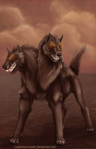 The Orthrus may appear a bit like Cerberus except that he has two heads and without the benefit of being Hades' pet guard dog. Killed by Hercules so the gods can have those red cattle.