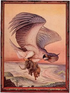 On the subject of mythical birds, the Roc is a giant bird from Middle Eastern legend that could carry elephants by its claws. Still, whatever you do, don't take any of its giant eggs. Seriously, don't.