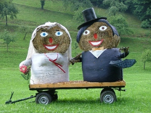 "Notice that I said, ""wedding bales"" instead of ""wedding bells."" Still, these two really seem to be made for each other. Then again, they literally are."