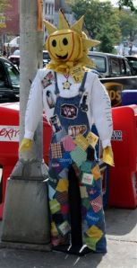 Now this scarecrow may seem a little creepy, but I think its folksy disposition makes it a much better spokesman for Jimmy Dean sausage than the Sun they have now.