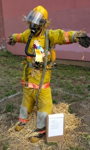 Of course, this scarecrow was probably made by a local fire department. Yet, I'm not sure if being stuffed with straw makes a good firefighter.