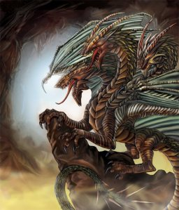 The Azhi Dahaka was a dragon created by Ahiram to destroy life on earth only to get chained to Mount Darmavand near the Caspian Sea by Atar. Yet, when Atar opened it, well, all the scorpions and venomous snakes came out.