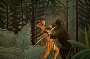 Now the Skunk Ape is seen as a Bigfoot from Florida which lives in the Everglades. However, it gives off a stench so foul that you wouldn't want to go anywhere near it. Of course, this Indian probably has no sense of smell to be that close.