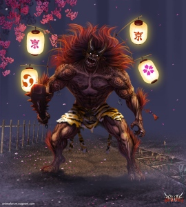 Now the Japanese Oni may resemble a demon at first but they do a job that's similar to the Grim Reaper despite that they wear a loincloth of a skin that comes from an endangered species. Still, like many superheroes, the tend to enjoy destruction and love ruining everything that crosses their paths.