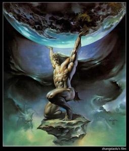 Contrary to popular imagery, Atlas' job wasn't to hold up the Earth, it was the Heavens. Still, let's just say people today don't get how the Ancient Greeks saw in cosmology. Nevertheless, he's best associated with geography.