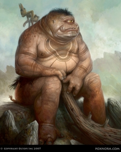 If this is the cyclops Polyphemus from Homer's Odyssey, then he's going to have it coming with Odysseus soon.