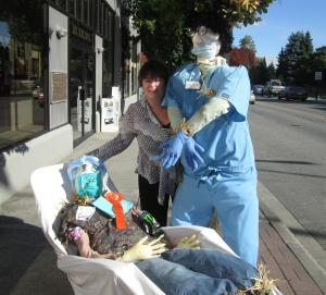 Not sure if a dentist scarecrow is guaranteed to scare crows. But it'll sure scare some people who are afraid of dentists.