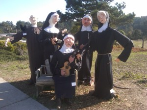 "Of course, we all know that these scarecrow nuns are singing, ""How Do You Solve a Problem Like Maria?"" The priest is just trying to do the Robot but is really bad at it."