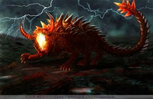 No, contrary to its appearance, this fire breathing monster isn't a dinosaur from Jurassic Park. Actually it's a ferocious dragon from French Folklore.