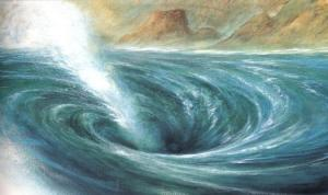 In the Strait of Messina sailors had to face a tough decision between Scylla and Charybdis, both which would bring harm. Charybdis was known to suck in ships and spit them out. Let's say that Odysseus was lucky to grab onto that fig tree.