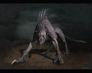 This Chupacabra looks as if it's a mix between a porcupine, hyena, and a bull dog with rabies.