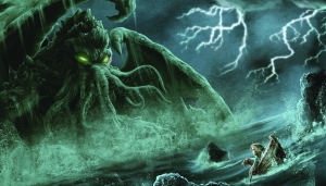 I'm sure there's no way in hell that woman and her dog are going to escape that Lovecraftian monstrosity.