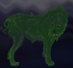 The Cu Sith is seen as an omen of death but when it barks three times, it's said a nursing mother is kidnapped to provide milk for fairies by this green hound dog. Yet, I wonder if this Scottish pooch likes green eggs an ham.