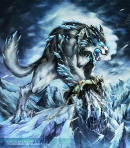 Cry all you want, Fenrir, but there's no way you're going to get out those chains until Raganarok when you'll join your father Loki against the Asgardians in the epic battle that would lead to each other's mutual destruction.