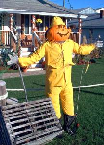 Of course, this fisherman scarecrow can't catch any fish on dry land. Still, love the raincoat and net.