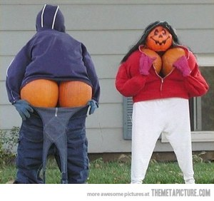 While blood and gore are all right in your Halloween decorations to an extent, doing a pumpkin display with exposed boobs and butts will make many parents complain. I mean you want kid friendliness in this department so don't do this.