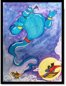 I don't usually use Disney caricature paintings for blog posts on mythology. Yet, since the recent passing of Robin Williams, I couldn't resist using the Genie from Aladdin.