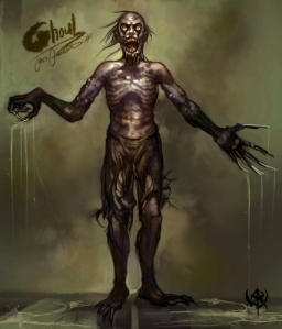 Ghouls are basically zombies which are more persistent predators for brains and have paralyzing touch. They're also capable of shape shifting as well as lure people into the desert to devour.
