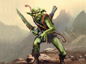 Goblins come in a variety of shapes, sizes, and personality. I see that this one is some badass warrior with a big ass knife as well as a bow and arrow. You may not want to mess with him.