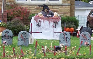 After all, using elements in Halloween displays that have anything to do with death or the occult are perfectly acceptable.