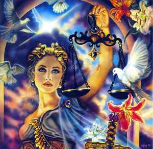 Astraea is the goddess of justice, purity, and innocence who chose to leave the earth after being disenchanted with humanity's wickedness and became the constellation Virgo. Her scales would become Libra. Still, she's said to return eventually.