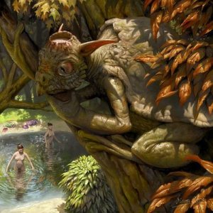 The Kappa is a complex monster which can range from harmless prankster and sexual harassser to outright vicious. Of course, this one is an outright pervert watching women skinny dipping. Also kind of resembles a cross between a house elf and a turtle.