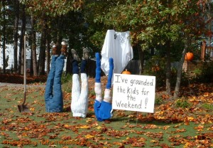 While this display may make neighbors question your parenting skills, I'm sure it's nevertheless in the spirit and funny.