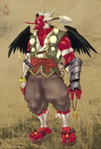 Despite originating in China, the Tengu has more lasting appeal in Japan as well as appears in a lot of its legends. Also, tends to be depicted as red with a big nose.