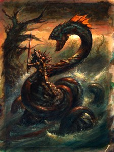 The Lambton Worm is an English dragon that was as dangerous as it was almost invincible. If it was cut in two, it would simply reattach its parts. That is, until John Lambton basically cut it in too many pieces for it to survive. A giant meat grinder would've worked better.