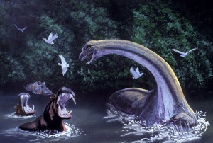 The Mokele-Mbembe is a cryptid that has inspired many a futile expedition to the African Congo in search for it. Still, this doesn't stop cable TV in the US from trying to film it while braving mosquitoes.